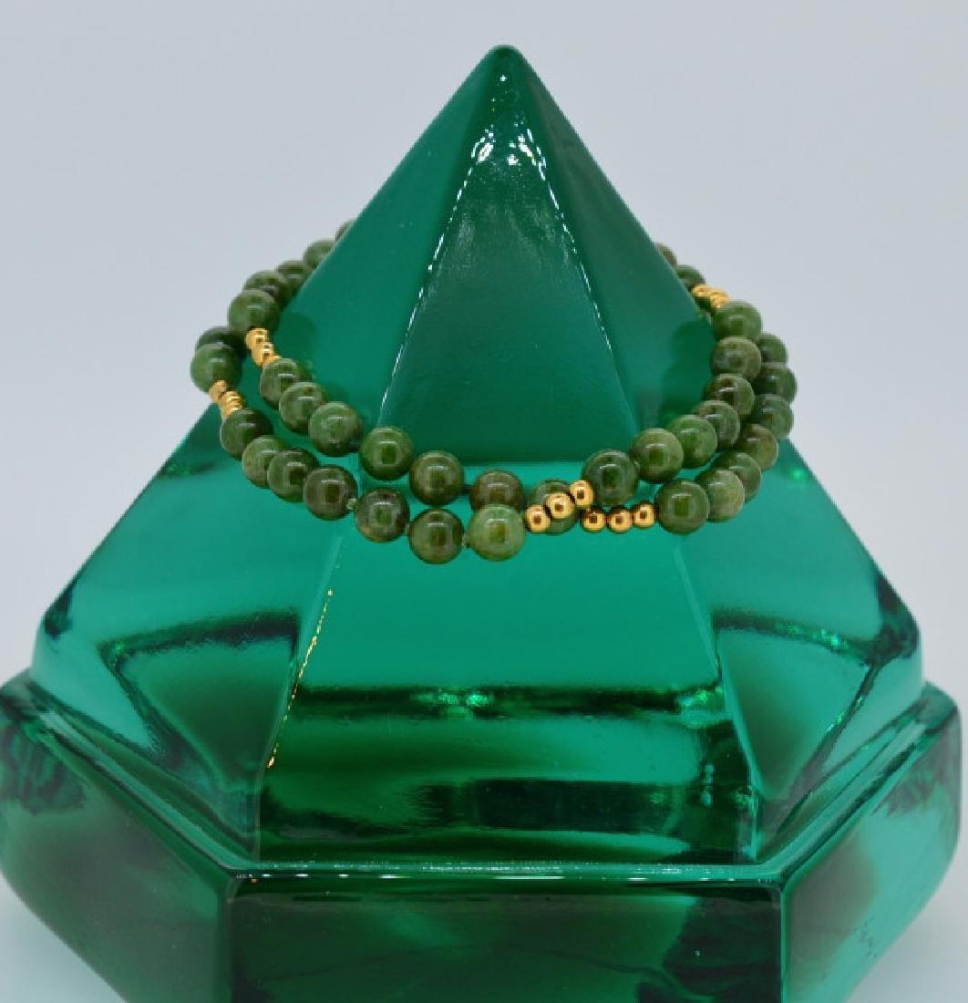 "Jade Bead Bracelet w Gold 7 1/2"", 6MM Double Strand"