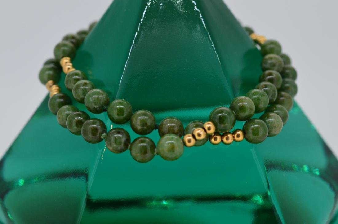 "Jade Bead Bracelet w Gold 7 1/2"", 6MM Double Strand - 2"