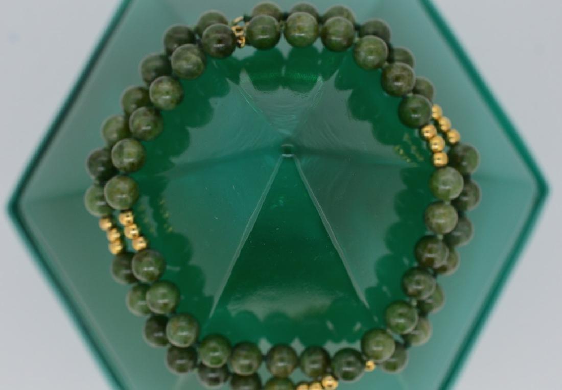 "Jade Bead Bracelet w Gold 7 1/2"", 6MM Double Strand - 3"
