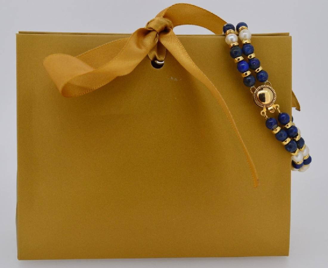 "Lapis, Pearl Bracelet with Gold 7"", 5 1/2-8 1/2""MM"