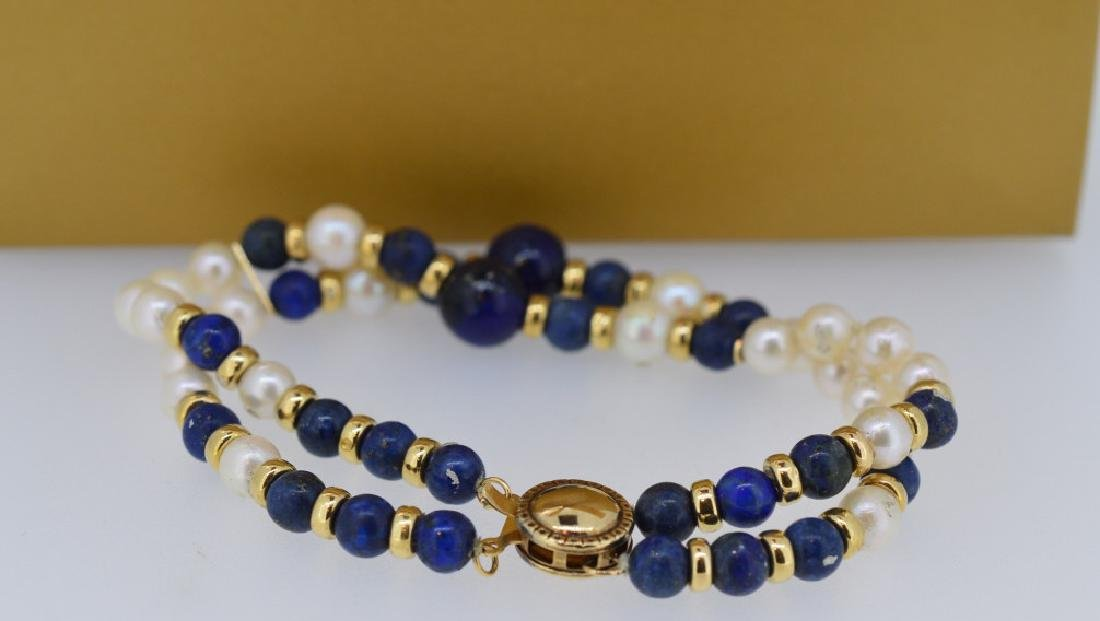 "Lapis, Pearl Bracelet with Gold 7"", 5 1/2-8 1/2""MM - 2"