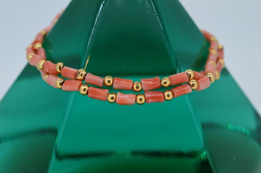 """Double Strand Coral Bracelet 7"""", Double Strand Coral - 2"""
