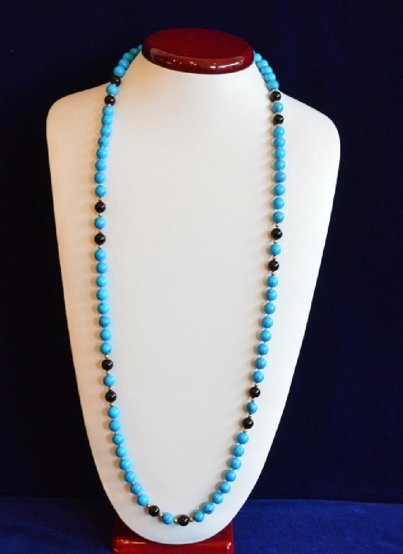 "Turquoise, Onyx & Gold Beaded Necklace 32"" Simulated 8"