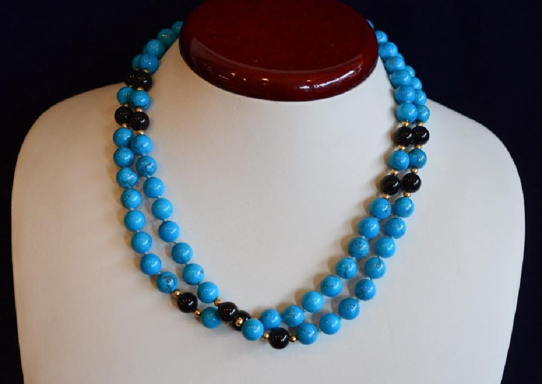 "Turquoise, Onyx & Gold Beaded Necklace 32"" Simulated 8 - 2"