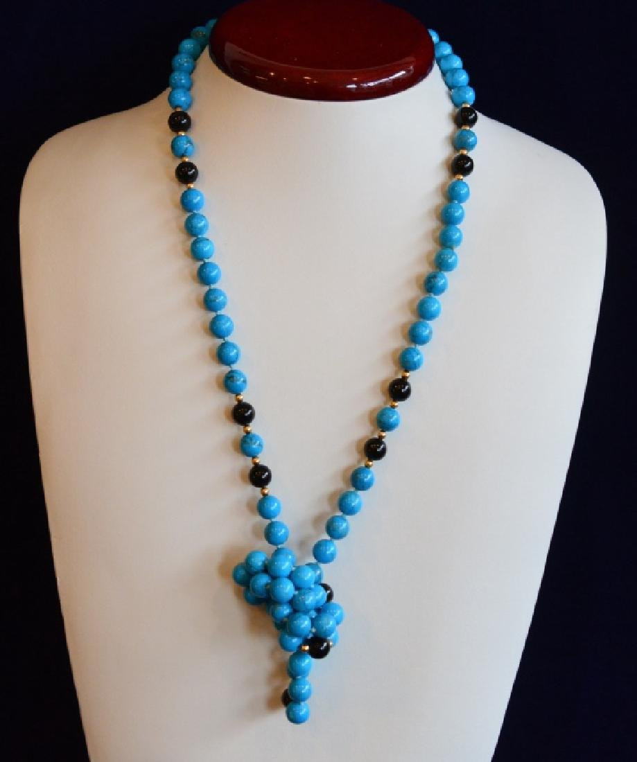 "Turquoise, Onyx & Gold Beaded Necklace 32"" Simulated 8 - 3"
