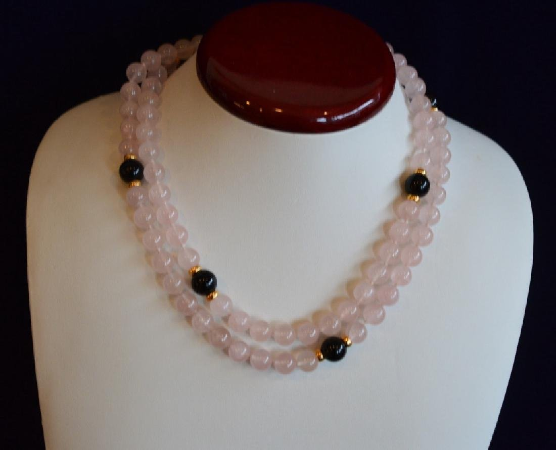 "Pink Quartz & Onyx Necklace 32"" 8 1/2MM Pink Crystal - 2"