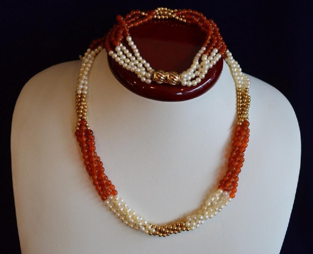 "Carnelian & Pearl Necklace & Bracelet Set 17"" 4 Strand"