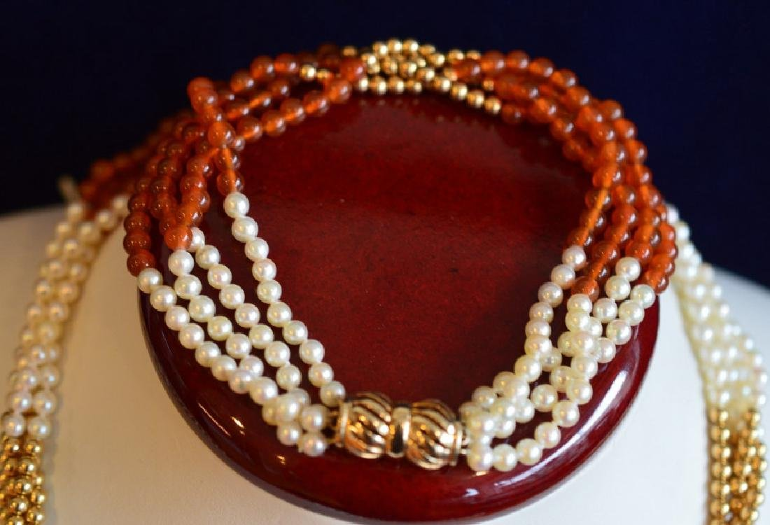 "Carnelian & Pearl Necklace & Bracelet Set 17"" 4 Strand - 3"