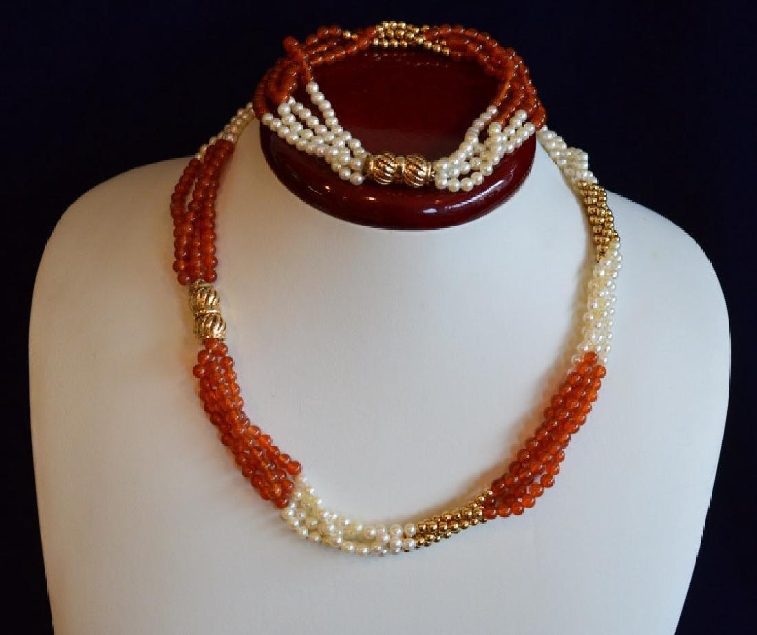 "Carnelian & Pearl Necklace & Bracelet Set 17"" 4 Strand - 4"