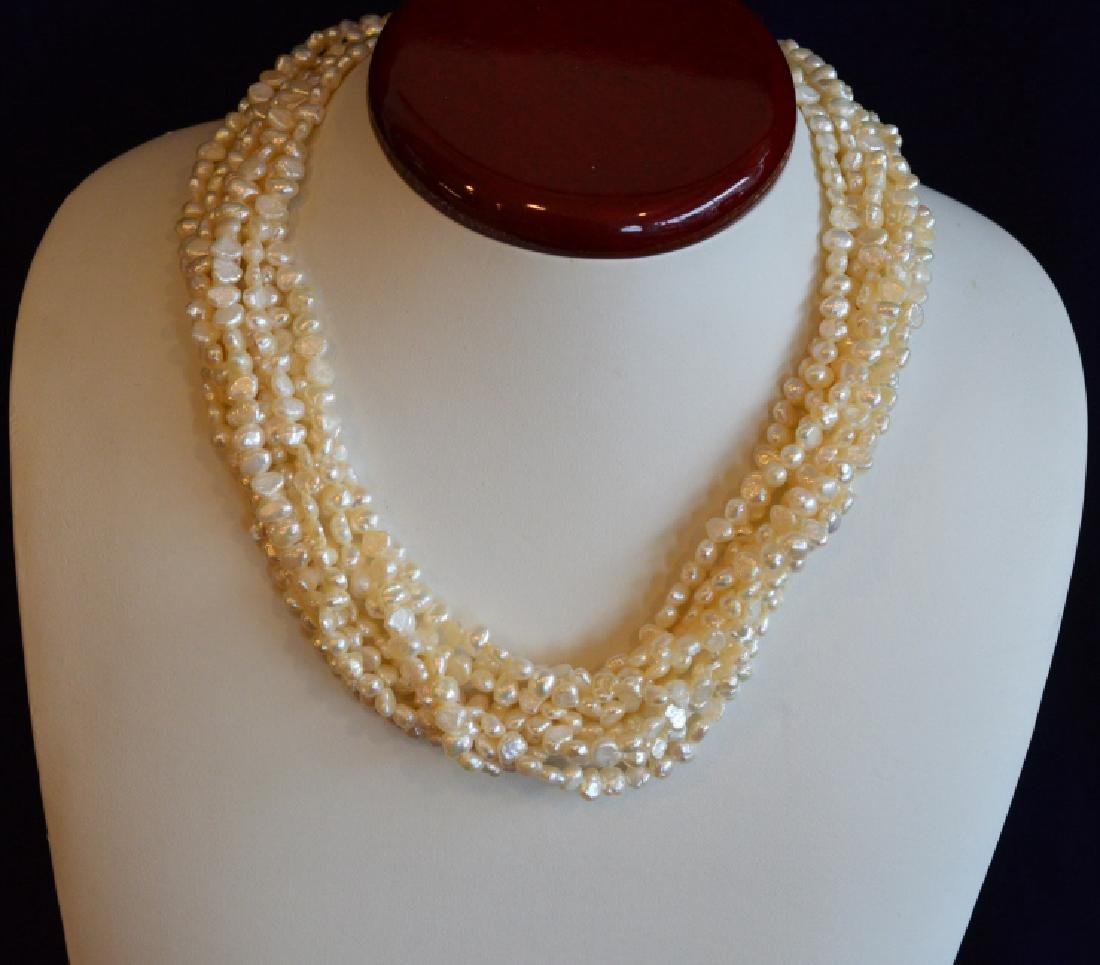"8 Strand Freshwater Pearl Necklace 17"" 8 Strand 3.5MM"