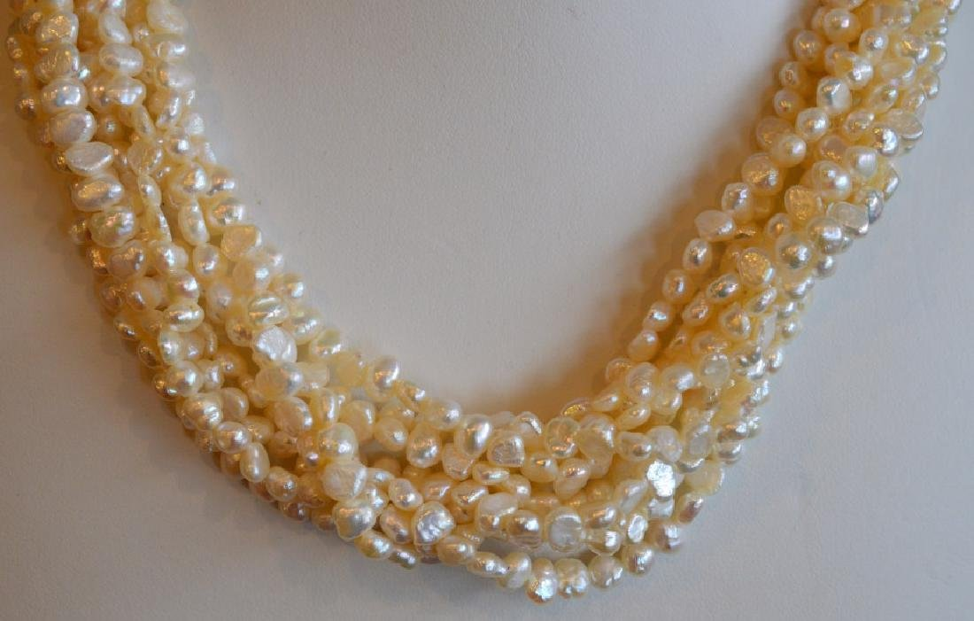"8 Strand Freshwater Pearl Necklace 17"" 8 Strand 3.5MM - 2"