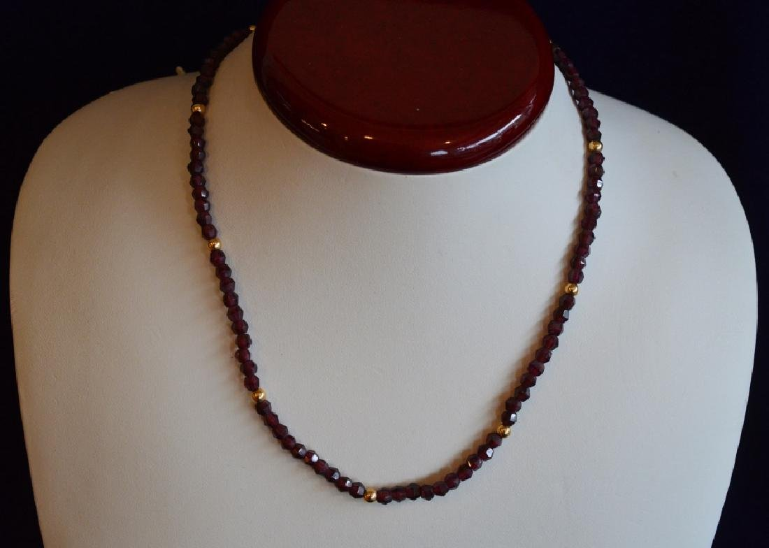 "Garnet & Gold Necklace 16"" 4MM Garnet Beads & 14k Gold"