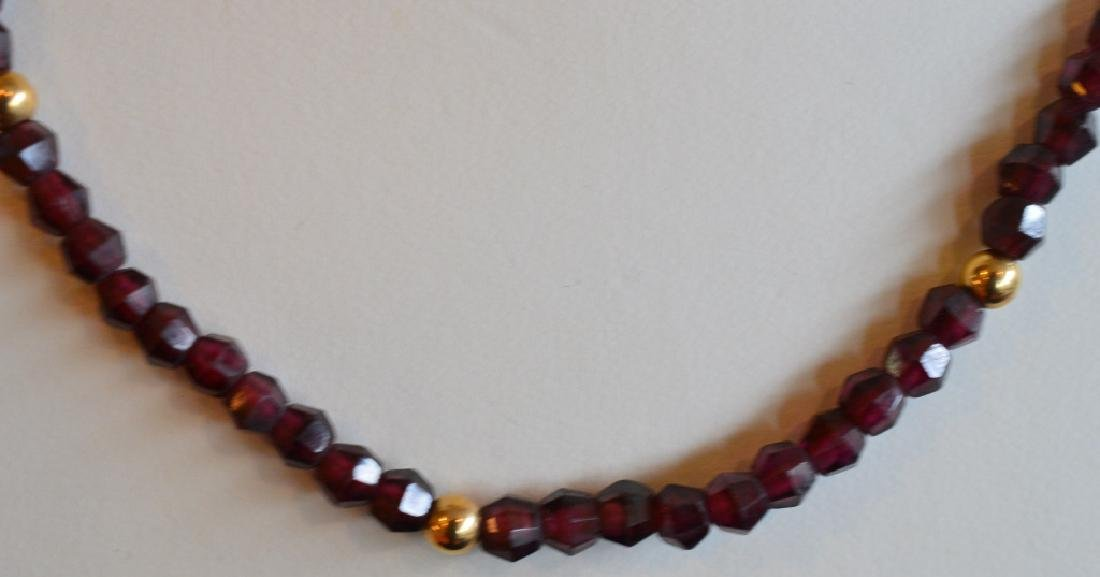 "Garnet & Gold Necklace 16"" 4MM Garnet Beads & 14k Gold - 2"