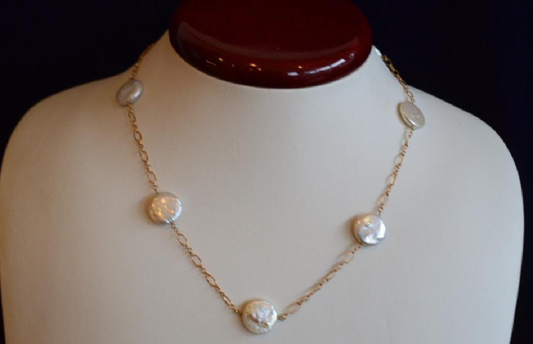 """Coin Pearl & Gold Necklace 15"""" 13MM Flat Coin Pearls on"""