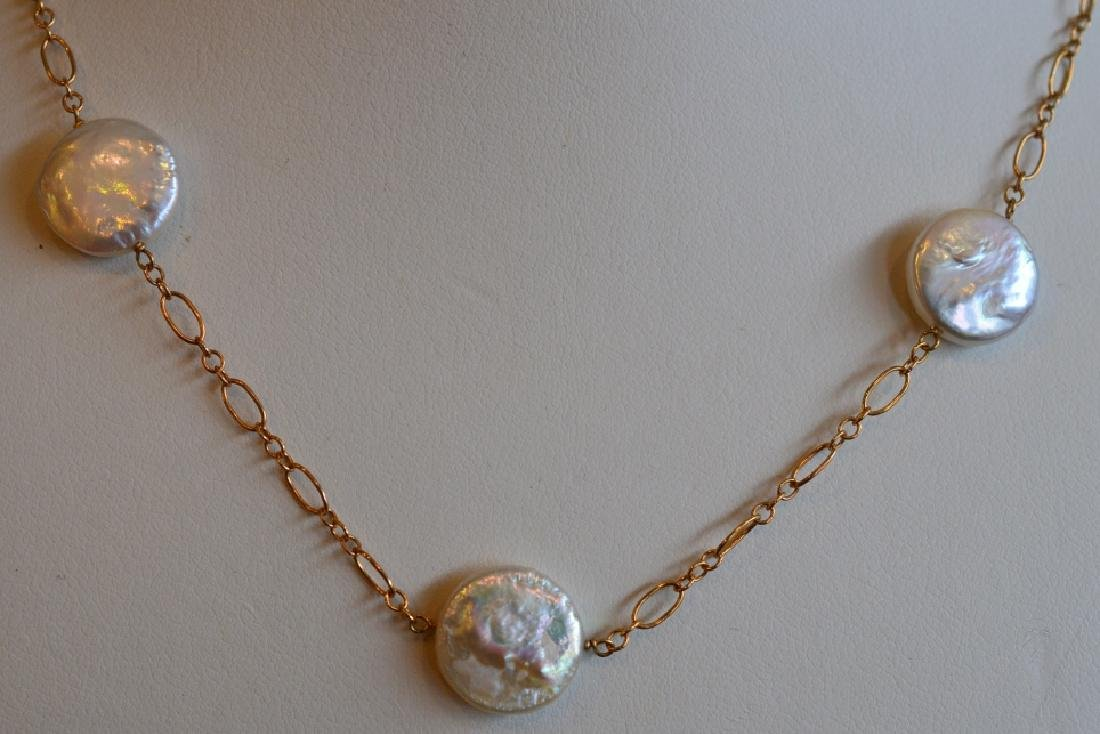 """Coin Pearl & Gold Necklace 15"""" 13MM Flat Coin Pearls on - 2"""