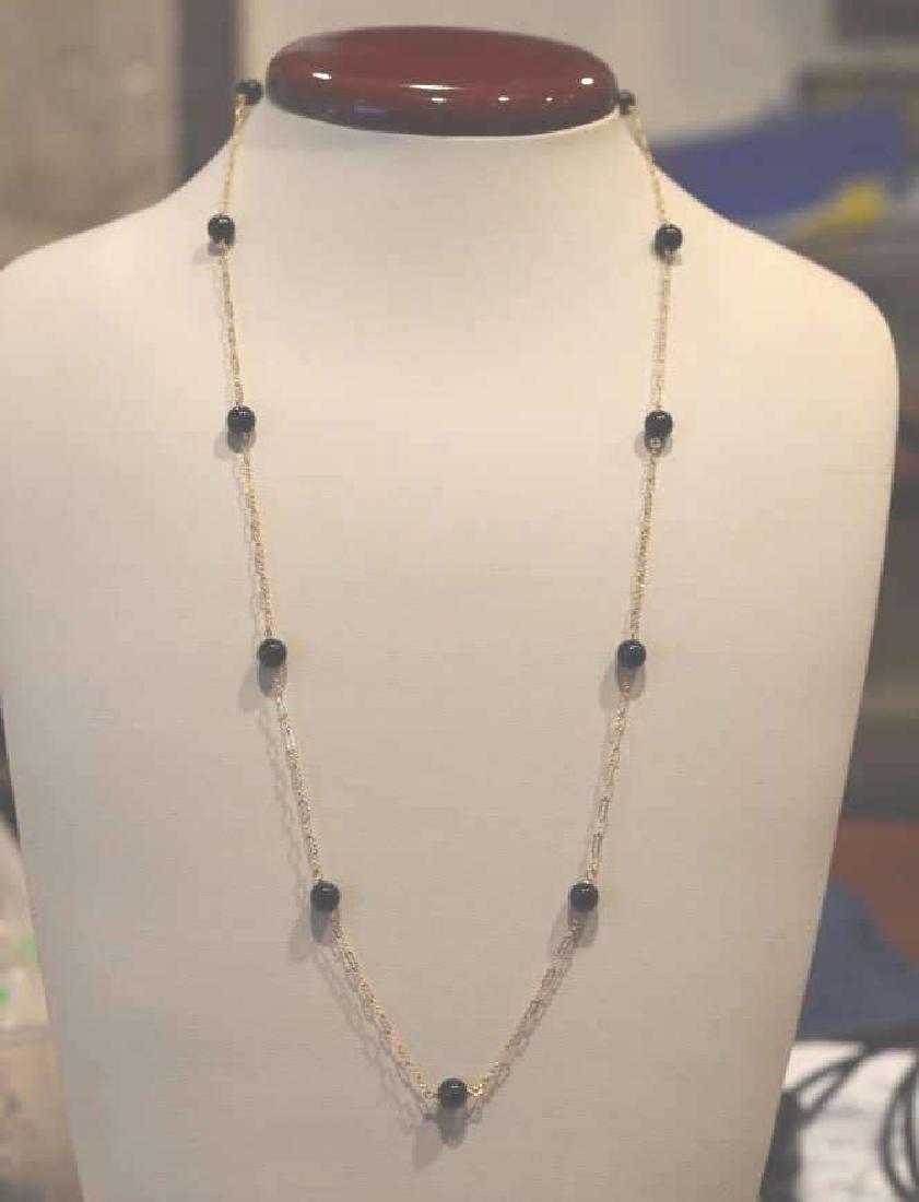 """Dainty Black Onyx & 14k Gold Necklace 24"""", 6.5MM Black"""