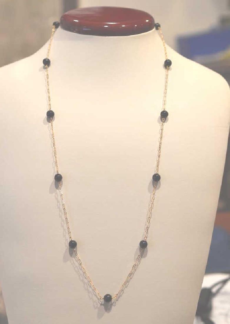 """Dainty Black Onyx & 14k Gold Necklace 24"""", 6.5MM Black - 2"""