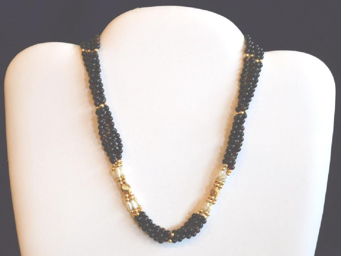 "4 Strand Onyx, Pearl & Gold Beaded Necklace 17"", 4"