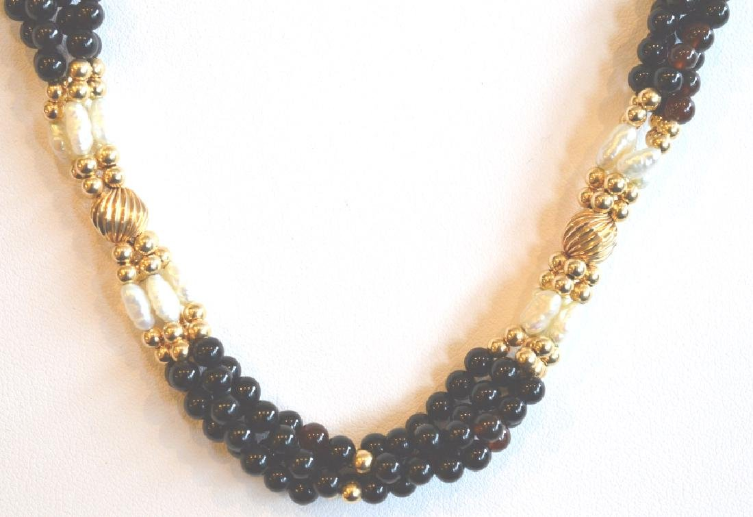"4 Strand Onyx, Pearl & Gold Beaded Necklace 17"", 4 - 2"