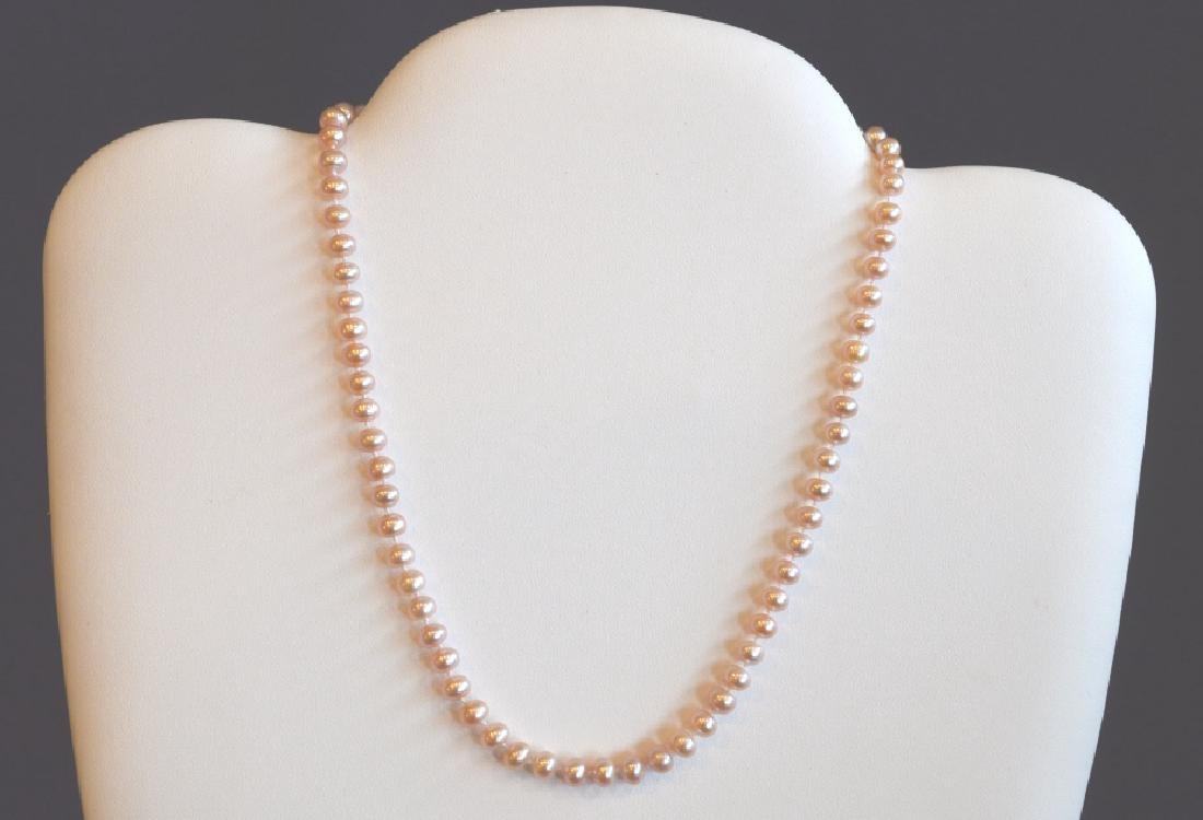"Single Strand Pink Pearl Necklace 16"", 6MM Pink Pearl"