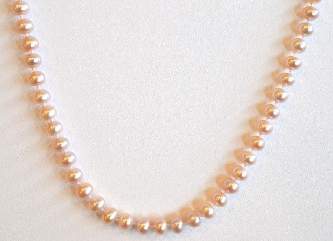 "Single Strand Pink Pearl Necklace 16"", 6MM Pink Pearl - 2"