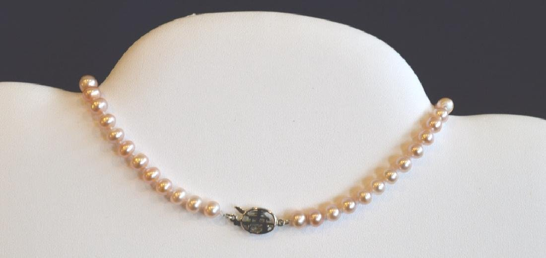 "Single Strand Pink Pearl Necklace 16"", 6MM Pink Pearl - 3"