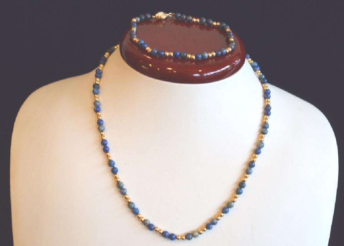 "Sodalite Necklace and Bracelet Set 15 1/2"" Sodalite"