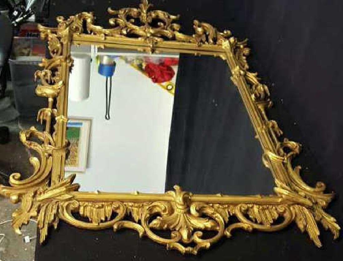 Antique Rococo 22k Gold Leaf Carved Mirror Antique