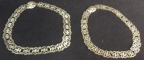 2 Vintage Open Work Silver Link Belts Two vintage