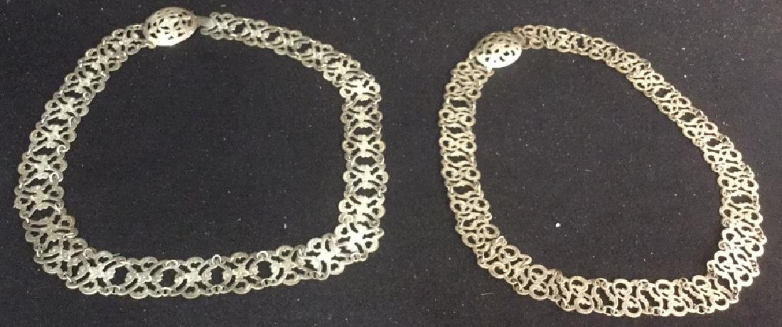 2 Vintage Open Work Silver Link Belts Two vintage