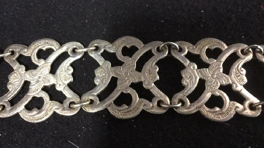 2 Vintage Open Work Silver Link Belts Two vintage - 3