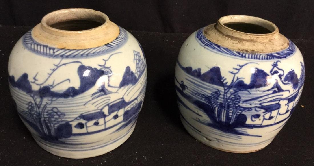 Pair of Antique Chinese Canton Ginger Jars