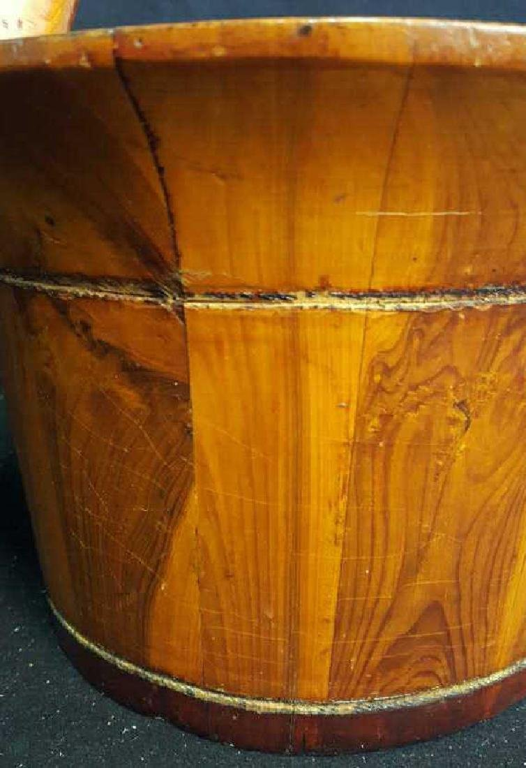 Antique Hand Made Handled Wooden Planter - 5