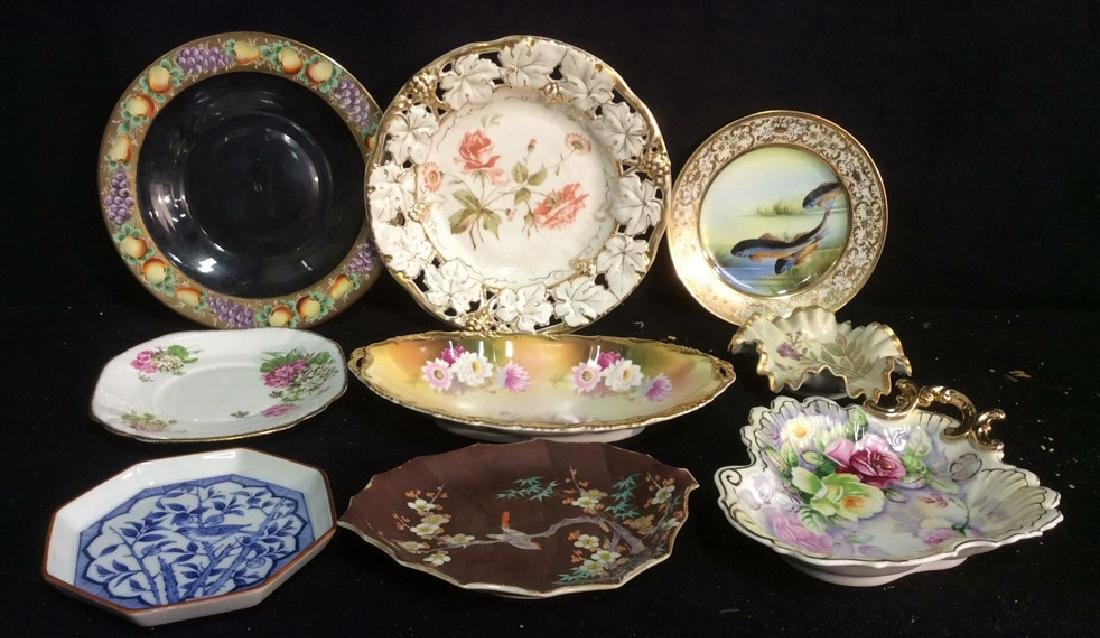 Group Antique Signed Marked Porcelain Plates