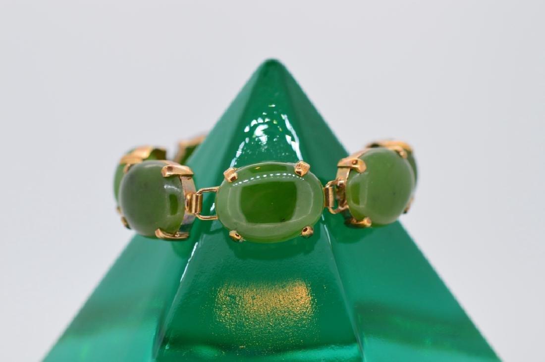 "Petite 5"" Oval Jade Stone Bracelet - 3"