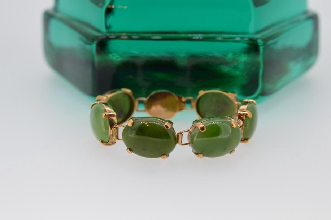 "Petite 5"" Oval Jade Stone Bracelet - 4"