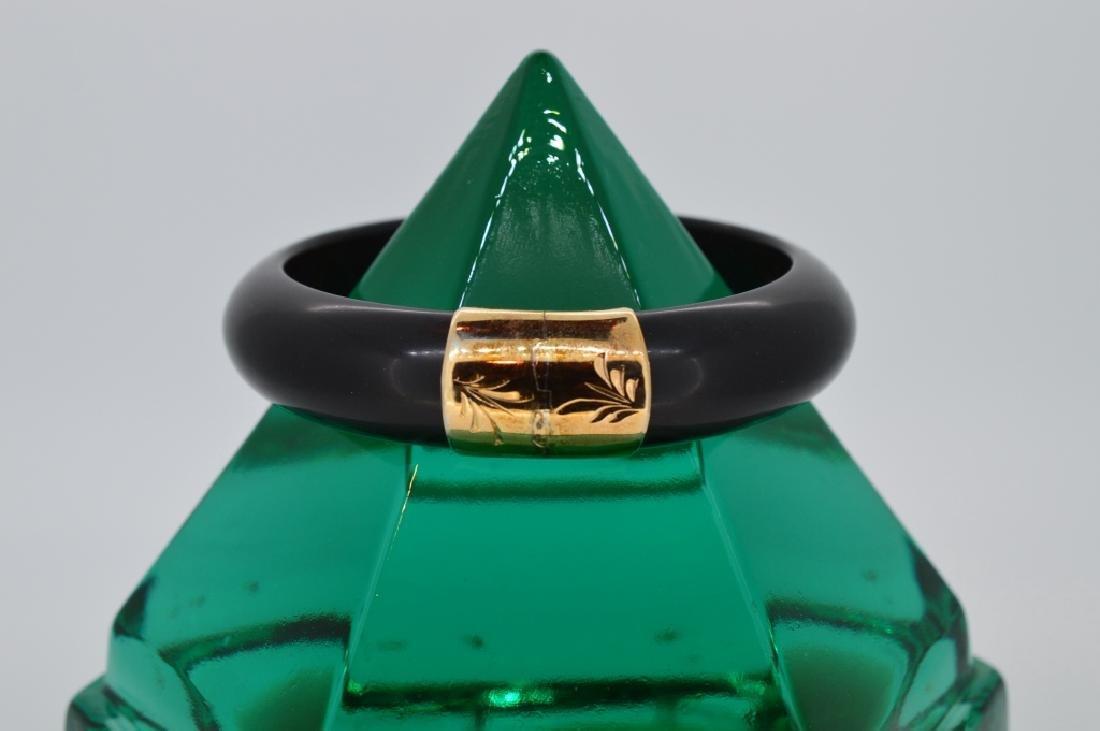 Bold Black Stone Bangle Bracelet - 3