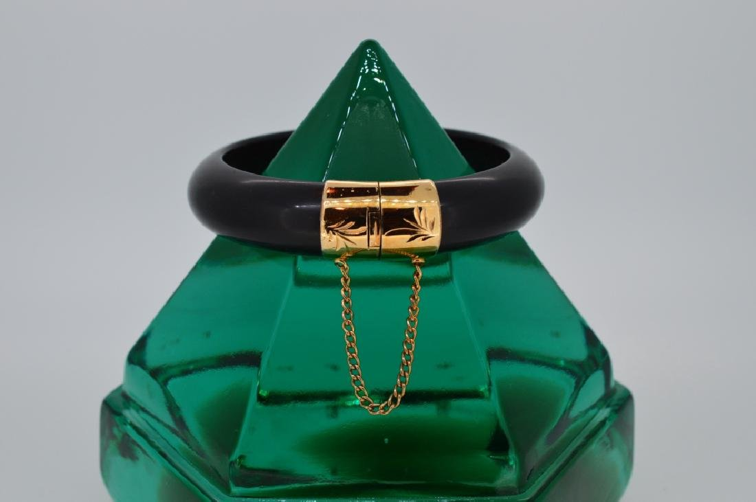 Bold Black Stone Bangle Bracelet - 4
