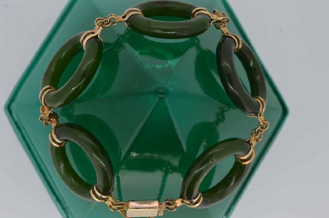 "7"" Jade Circle Link Bracelet - 2"