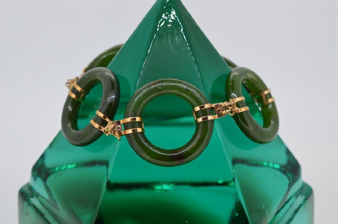 "7"" Jade Circle Link Bracelet - 3"