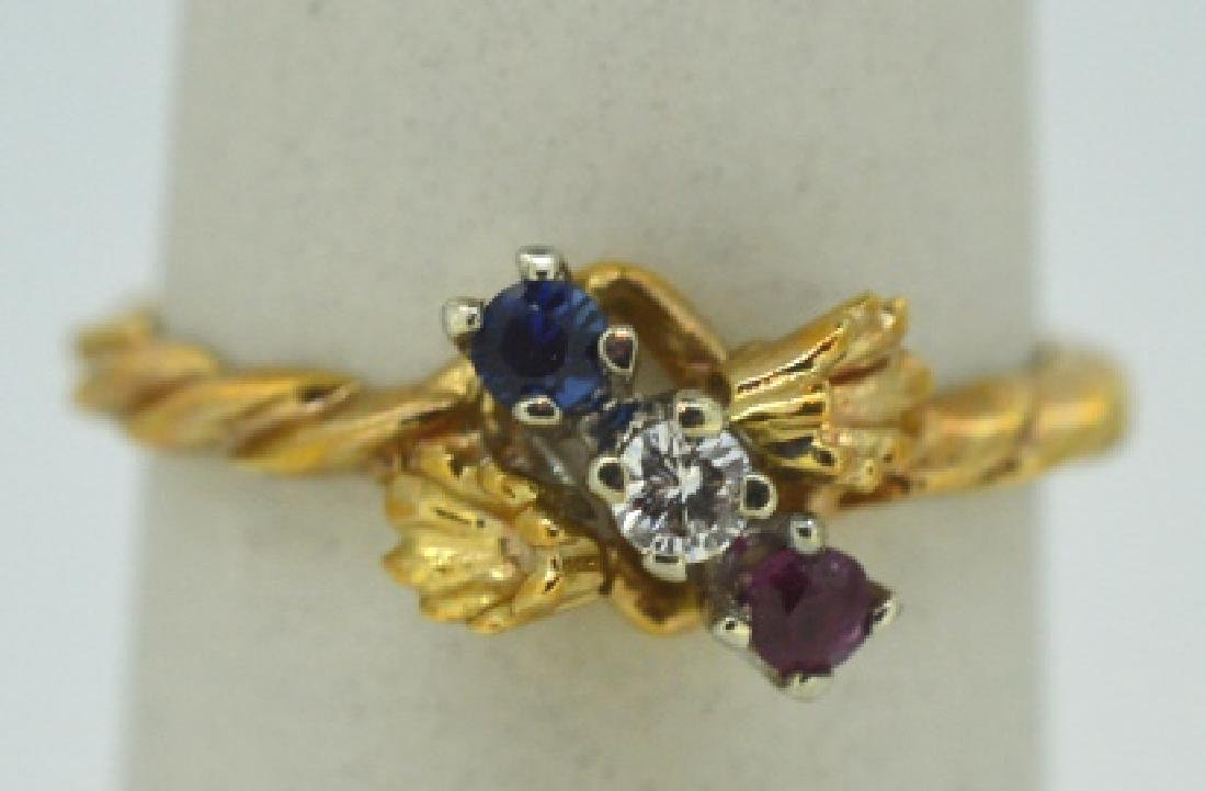 10K Yellow Gold Ring Red White & Blue Stones