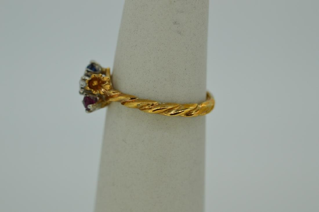 10K Yellow Gold Ring Red White & Blue Stones - 3