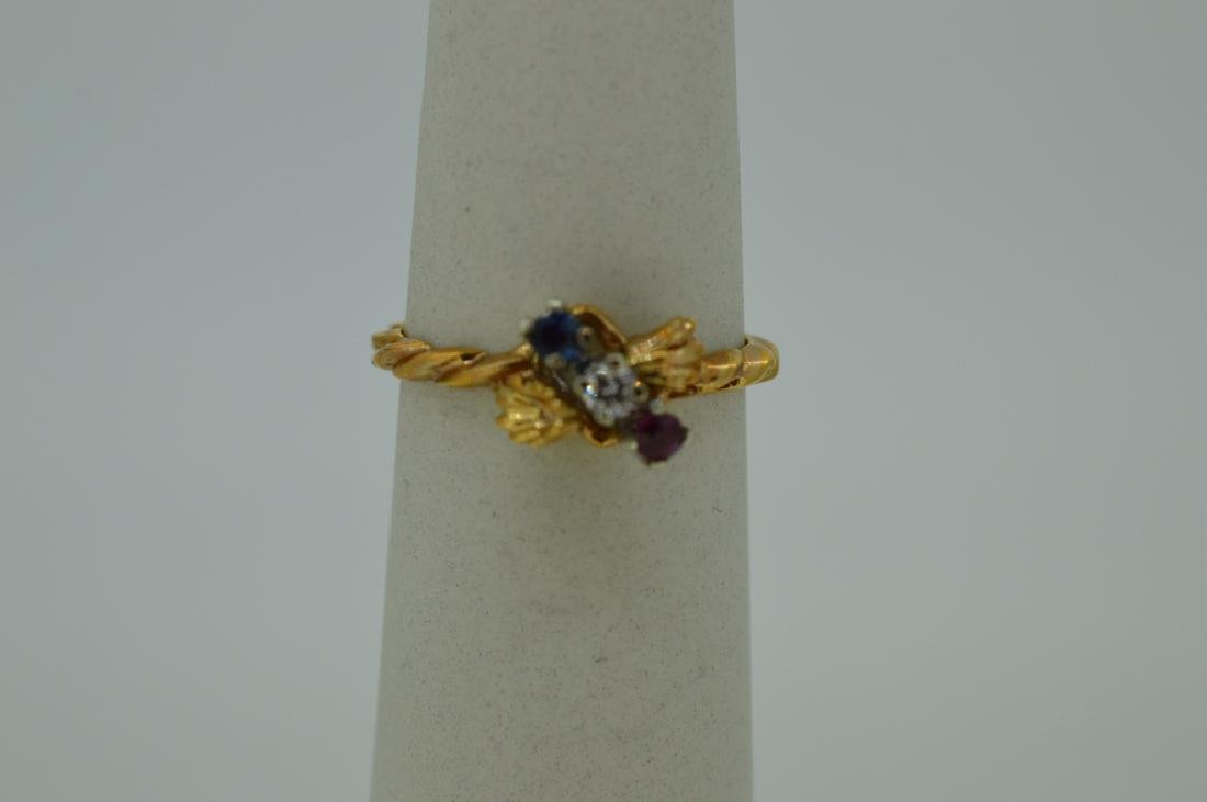 10K Yellow Gold Ring Red White & Blue Stones - 6