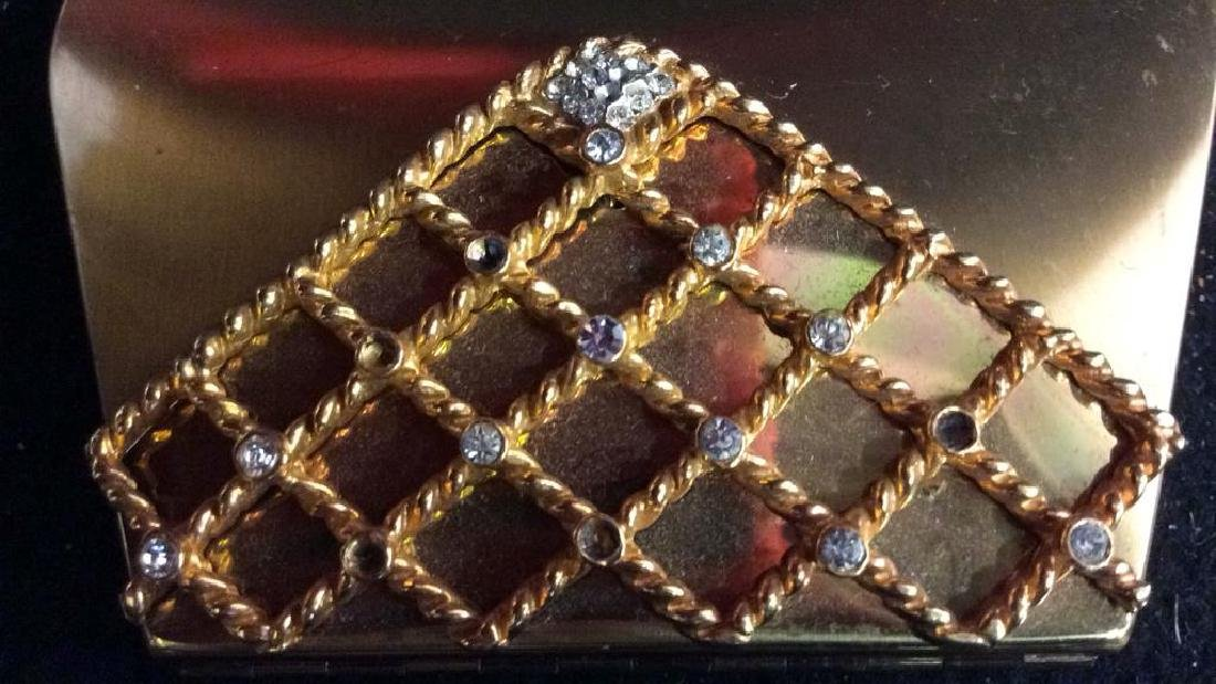 3 Vintage Gold Toned Purses Compacts - 10