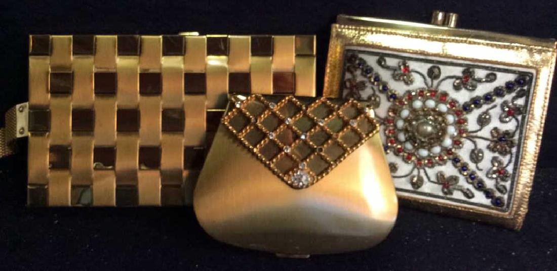 3 Vintage Gold Toned Purses Compacts