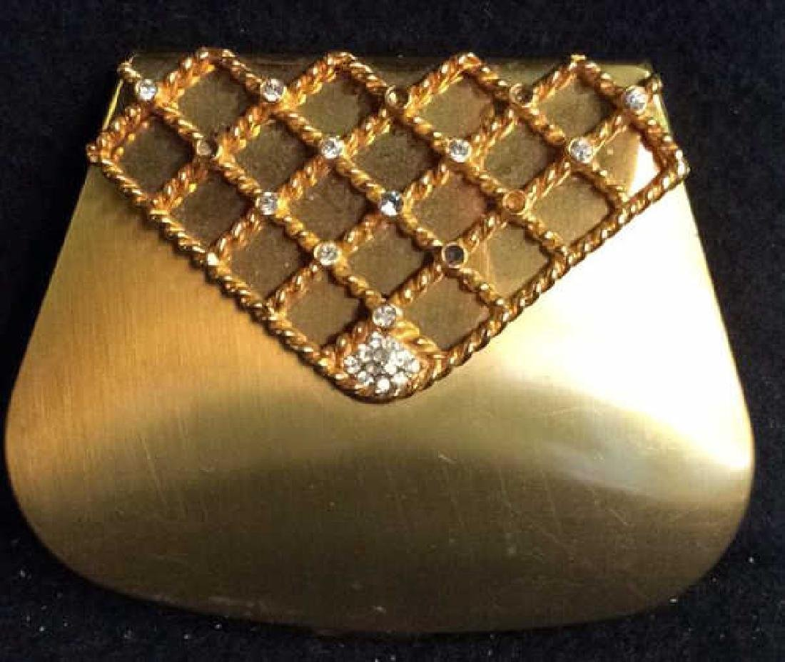 3 Vintage Gold Toned Purses Compacts - 2
