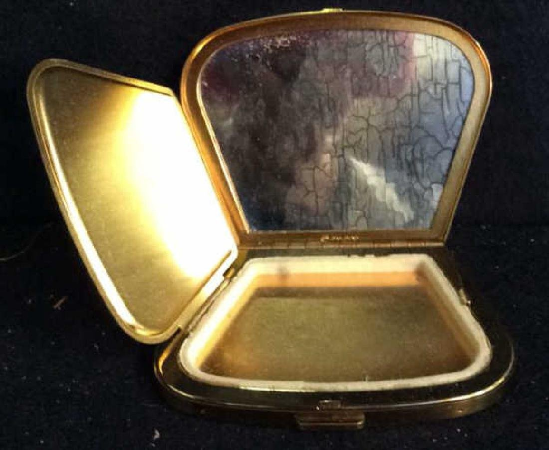 3 Vintage Gold Toned Purses Compacts - 3