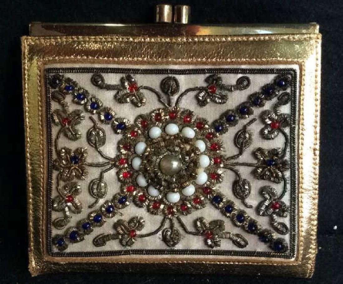 3 Vintage Gold Toned Purses Compacts - 4