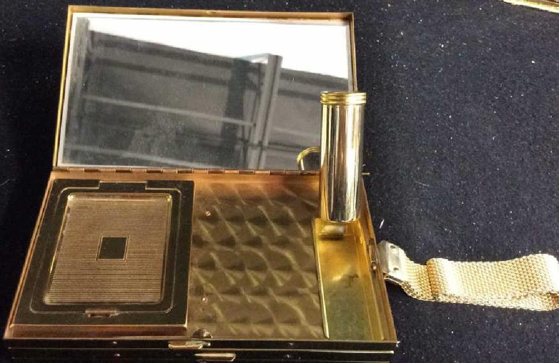3 Vintage Gold Toned Purses Compacts - 7
