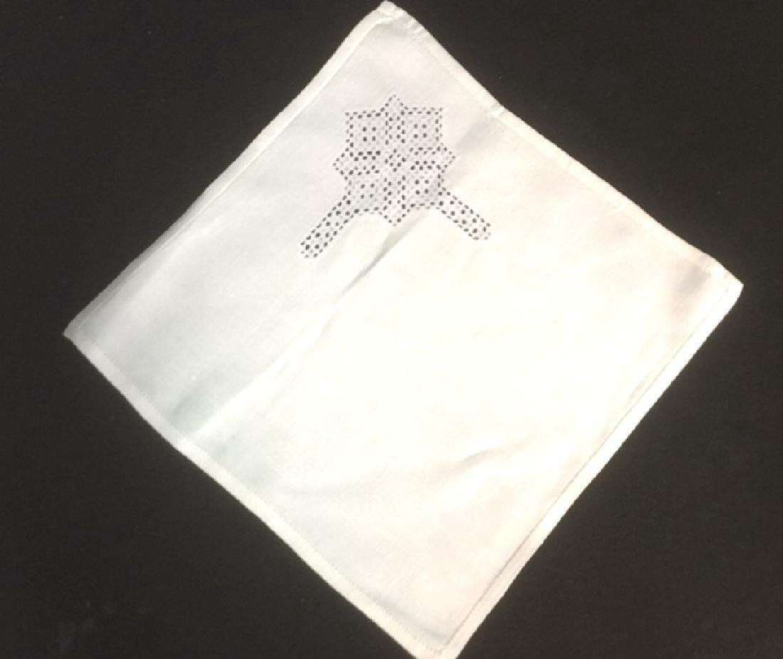 Vintage White Linen Tablecloth and Napkin Set - 4
